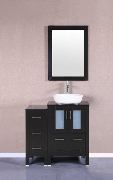 Bosconi AB124BWLBG1S 36 Inch Single Vanity Set in Espresso