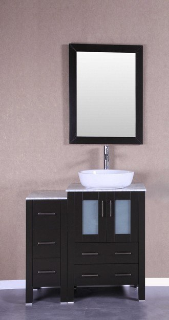 Bosconi AB124BWLCM1S 36 Inch Single Vanity Set in Espresso