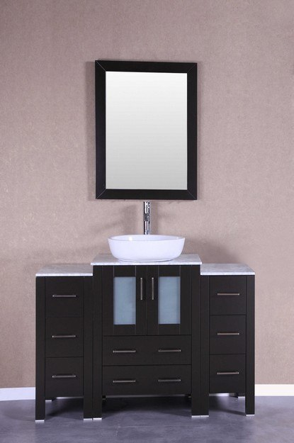 Bosconi AB124BWLCM2S 48 Inch Single Vanity Set in Espresso