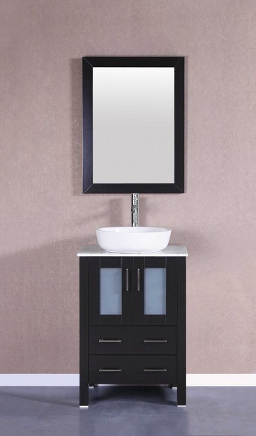 Bosconi AB124BWLCM 24 Inch Single Vanity Set in Espresso
