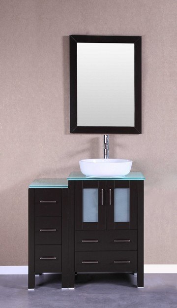 Bosconi AB124BWLCWG1S 36 Inch Single Vanity Set in Espresso