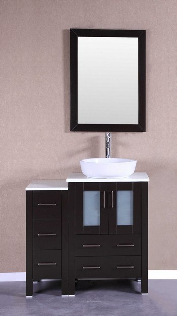 Bosconi AB124BWLPS1S 36 Inch Single Vanity Set in Espresso