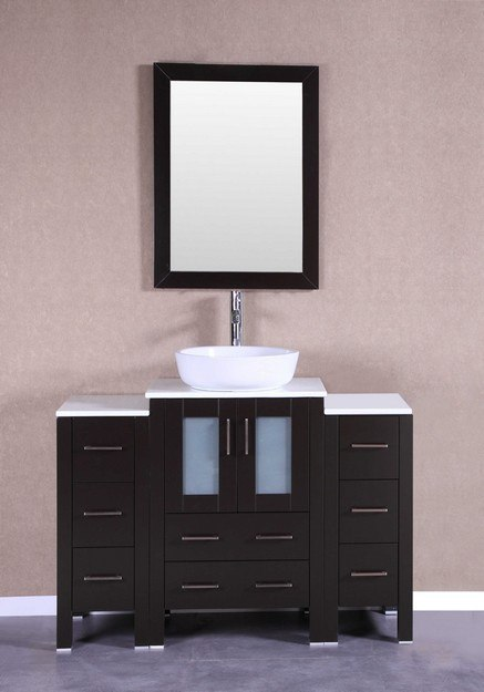 Bosconi AB124BWLPS2S 48 Inch Single Vanity Set in Espresso