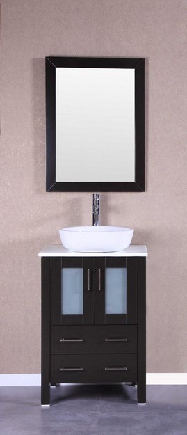Bosconi AB124BWLPS 24 Inch Single Vanity Set in Espresso