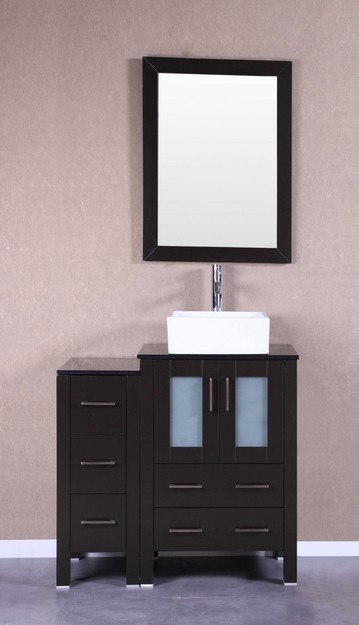 Bosconi AB124CBEBG1S 36 Inch Single Vanity Set in Espresso