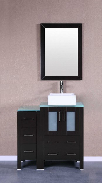 Bosconi AB124CBECWG1S 36 Inch Single Vanity Set in Espresso