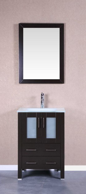 Bosconi AB124EWGU 24 Inch Single Vanity Set in Espresso