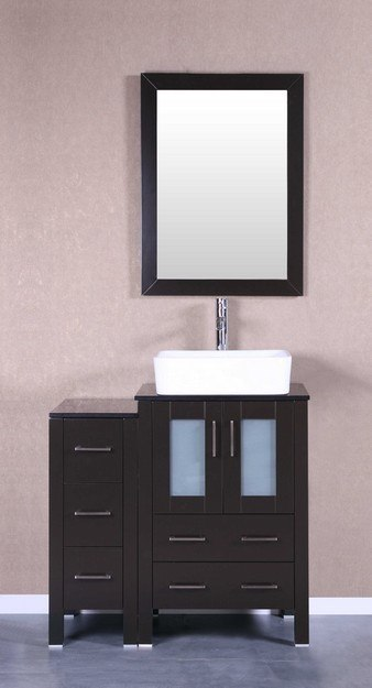 Bosconi AB124RCBG1S 36 Inch Single Vanity Set in Espresso
