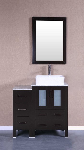 Bosconi AB124RCCM1S 36 Inch Single Vanity Set in Espresso