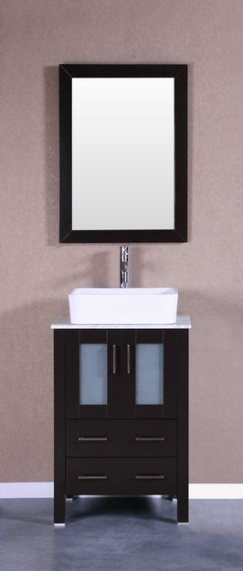 Bosconi AB124RCCM 24 Inch Single Vanity Set in Espresso
