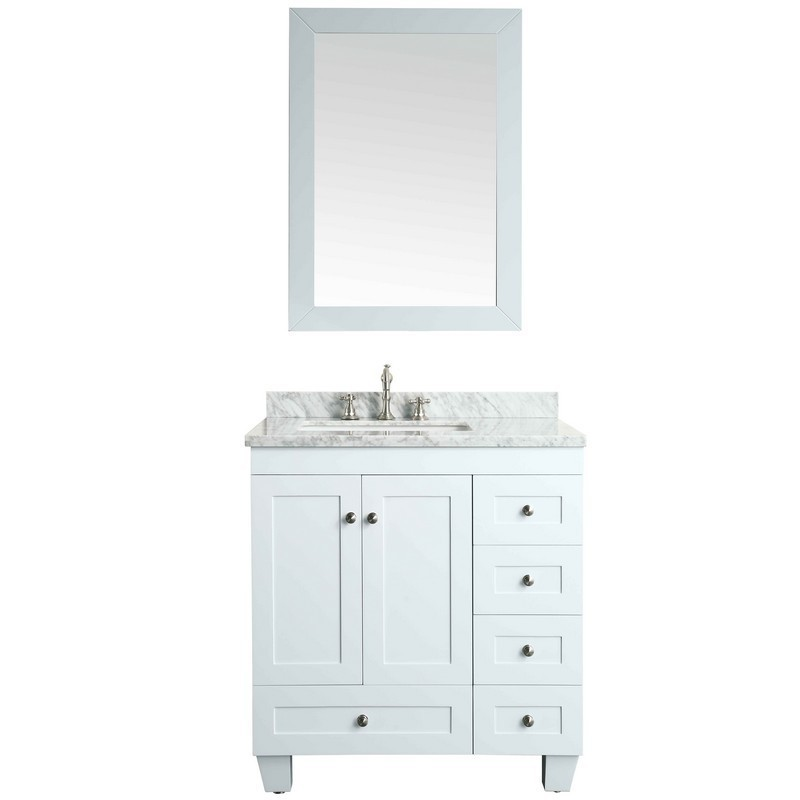 EVIVA EVVN69-30WH ACCLAIM C. 30 INCH TRANSITIONAL WHITE BATHROOM VANITY WITH WHITE CARRERA MARBLE COUNTER-TOP
