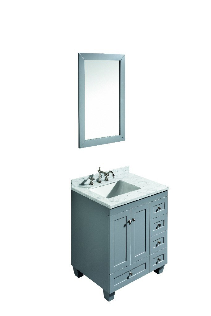 Eviva EVVN69-30GR Acclaim C. 30 Inch Transitional Grey Bathroom Vanity with white carrera marble counter-top