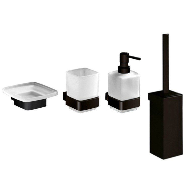 GEDY LG1111-M4 LOUNGE 4 PIECE BLACK ACCESSORY HARDWARE SET