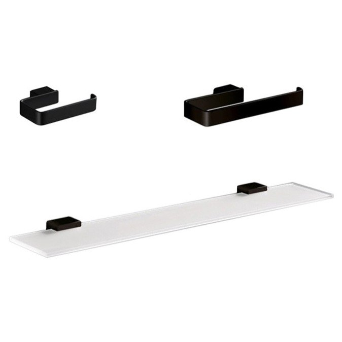 GEDY LG1319-M4 LOUNGE 3 PC. BLACK ACCESSORY SET WITH FROSTED GLASS SHELF