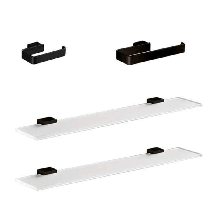 GEDY LG1419-M4 LOUNGE 4 PIECE BLACK ACCESSORY HARDWARE SET