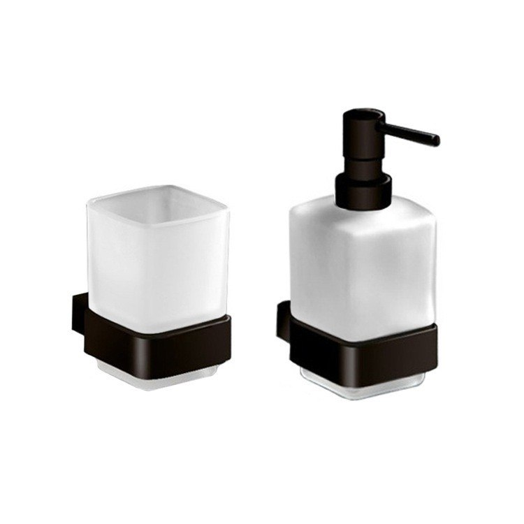 GEDY LG1581-M4 LOUNGE WALL MOUNTED SOAP DISPENSER AND TOOTHBRUSH TUMBLER SET