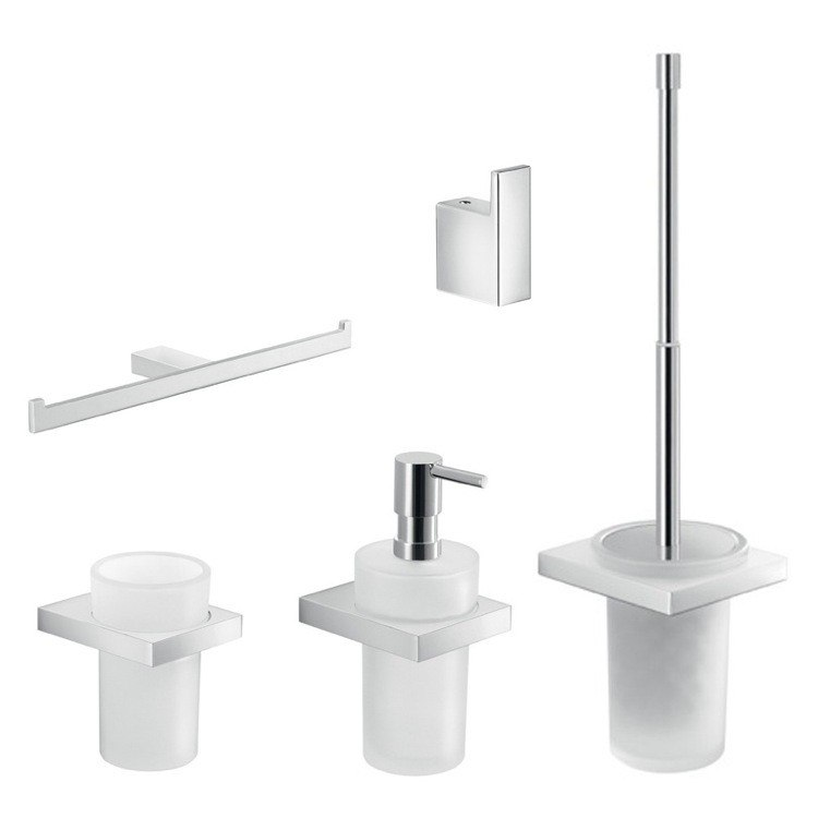 GEDY LZ1129 LANZAROTE CHROME 5 PIECE WALL MOUNTED ACCESSORY SET
