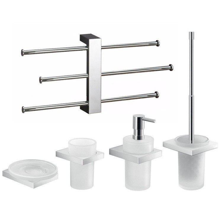 GEDY LZ1130 LANZAROTE 5 PIECE CHROME ACCESSORY SET WITH ADJUSTABLE TOWEL RACK