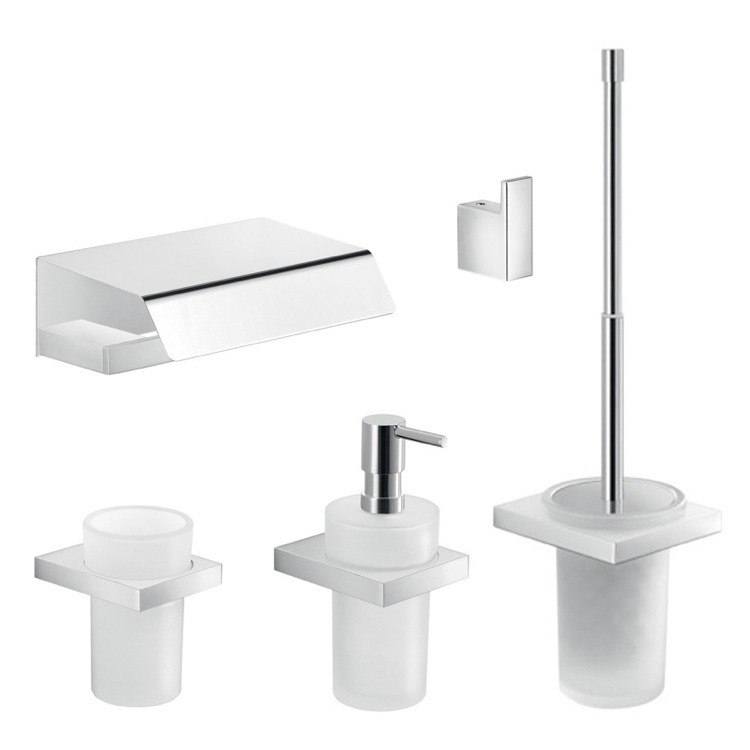GEDY LZ1133 LANZAROTE WALL MOUNTED 5 PIECE CHROME HARDWARE SET