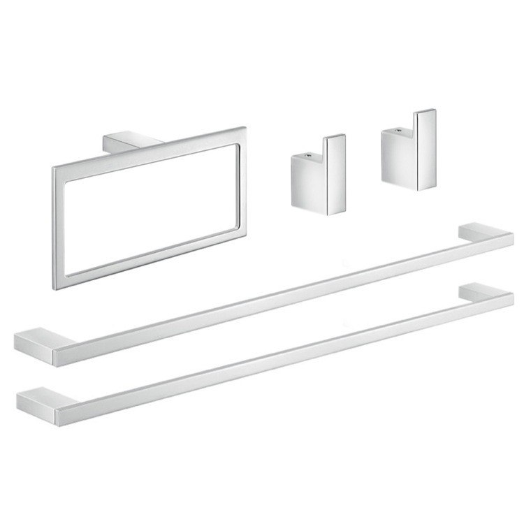 GEDY LZ1170 LANZAROTE CHROME HIS AND HERS BATHROOM HARDWARE SET