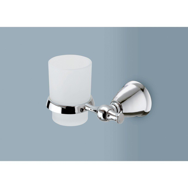 GEDY LI10-13 LIRA FROSTED GLASS TOOTHBRUSH HOLDER WITH POLISHED CHROME WALL MOUNT