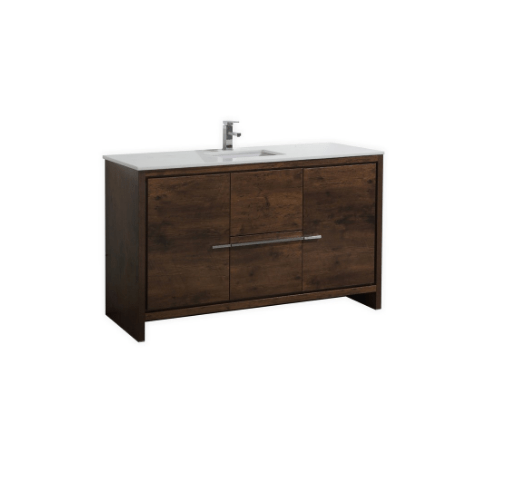 Moreno Bath MD660SRW MOD 60 Inch Rosewood Modern Bathroom Vanity With 2 Doors, 3 Drawers and Acrylic Sink