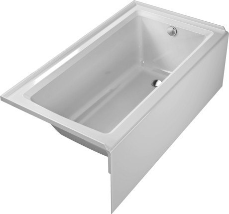 Duravit 700355 Starck New 60 x 30 Inch Rectangle Base Bathtub with Integrated Panel and Flange, Drain Right