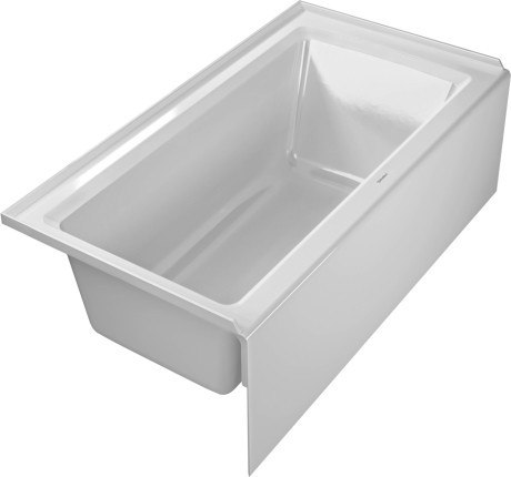 Duravit 700354 Starck New 60 x 32 Inch Rectangle Base Bathtub with Integrated Panel and Flange, Drain Left