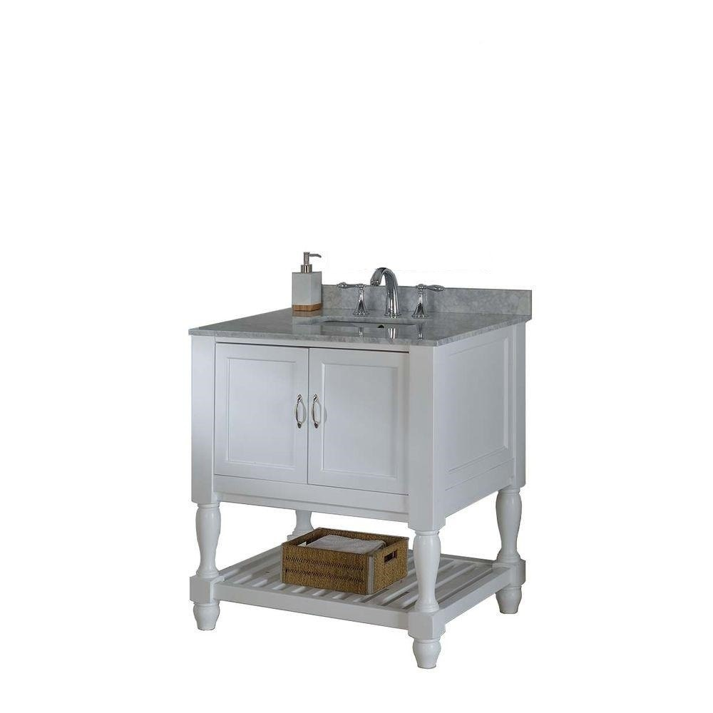 DIRECT VANITY SINK 32S10-WWC MISSION TURNLEG SPA 32 INCH WHITE VANITY WITH CARRARA WHITE MARBLE TOP