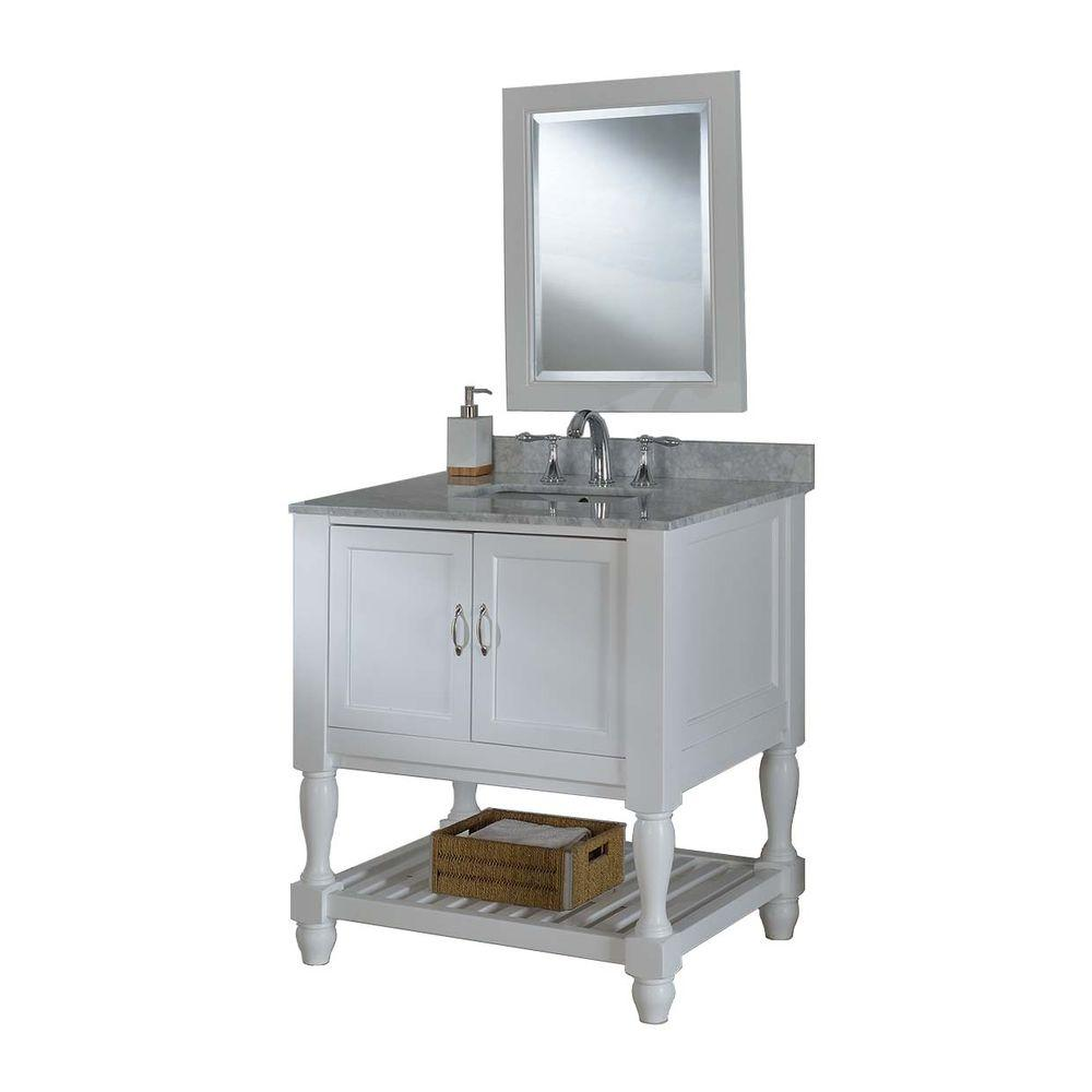 DIRECT VANITY SINK 32S10-WWC-M MISSION TURNLEG SPA 32 INCH WHITE VANITY WITH CARRARA WHITE MARBLE TOP AND MIRROR