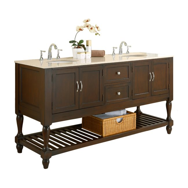 DIRECT VANITY SINK 6070D10-ESB-2M MISSION TURNLEG 70 INCH DARK BROWN VANITY WITH BEIGE MARBLE TOP AND MIRRORS