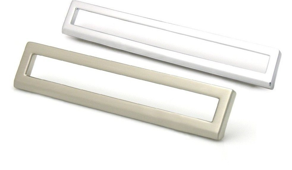 Topex 8-102216012834 Bent Rectangular Pull 5 Inches (128mm) or 6 1/4 Inches (160mm) Polished Satin Nickel