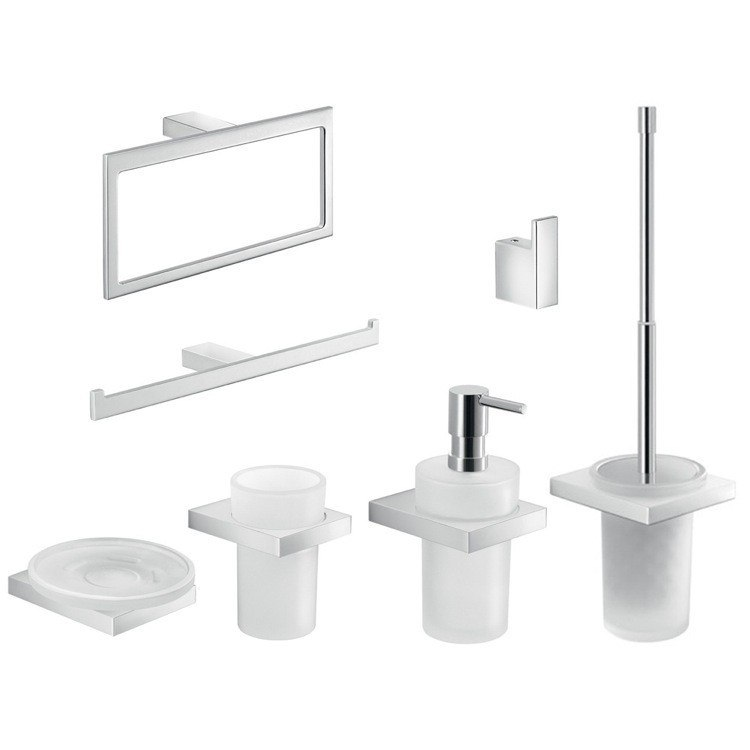 GEDY LZ1200 LANZAROTE 7 PIECE CHROME WALL MOUNTED ACCESSORY SET