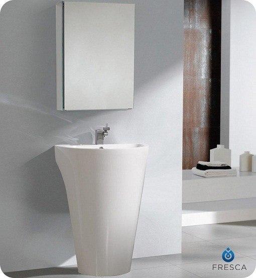 FRESCA FVN5023WH PARMA 24 INCH WHITE PEDESTAL SINK WITH MEDICINE CABINET - MODERN BATHROOM VANITY