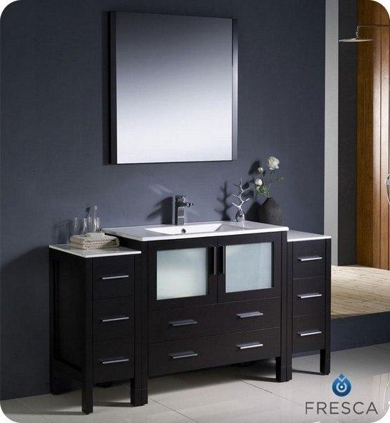 FRESCA FVN62-123612ES-UNS TORINO 59.75 INCH ESPRESSO MODERN BATHROOM VANITY WITH 2 SIDE CABINETS AND UNDERMOUNT SINK
