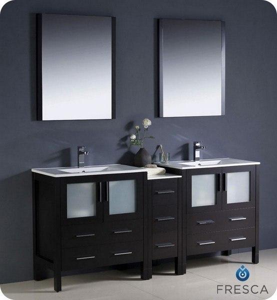 Fvn8013bw Opulento 54 Inch Black Modern Double Sink