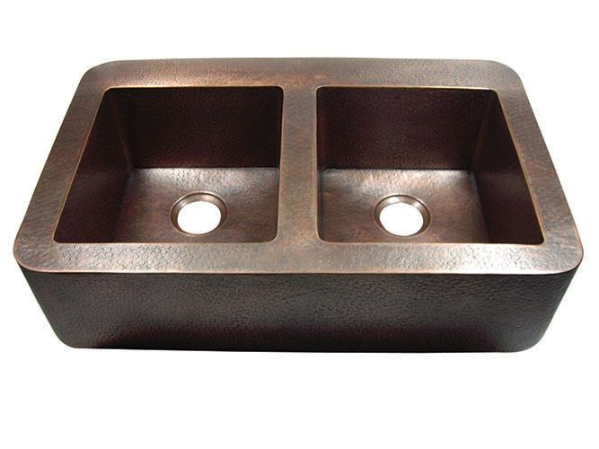 Yosemite Home Décor CSS1551H 34 Inch Hammered Double Bowl Farmhouse Sink