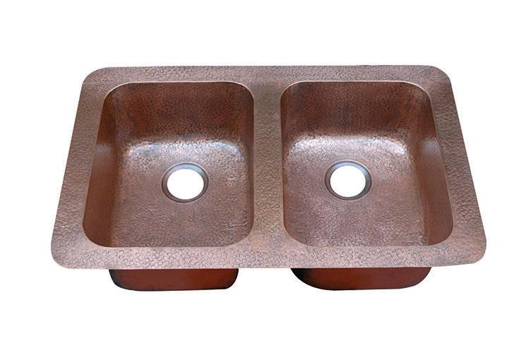 Yosemite Home Décor CSS1553-H 34 Inch Under-Mount/Top-Mount Hammered Double Bowl Sink