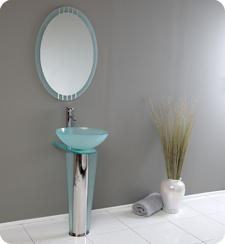 FRESCA FVN1053 VITALE 16.5 INCH MODERN GLASS BATHROOM VANITY WITH MIRROR
