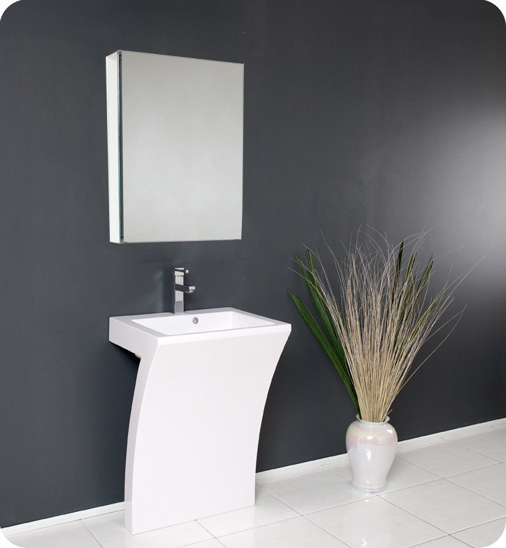 FRESCA FVN5024WH QUADRO 22.5 INCH WHITE PEDESTAL SINK WITH MEDICINE CABINET - MODERN BATHROOM VANITY