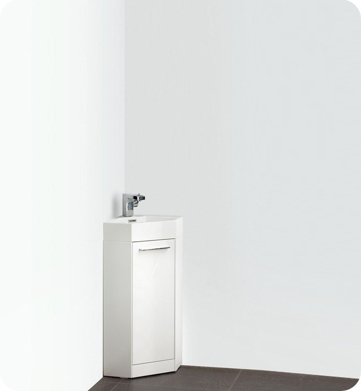Fvn5082wh Coda 14 Inch White Modern Corner Bathroom Vanity Fvn5082wh Fmc5082wh Coda 14 Inch White Modern Corner
