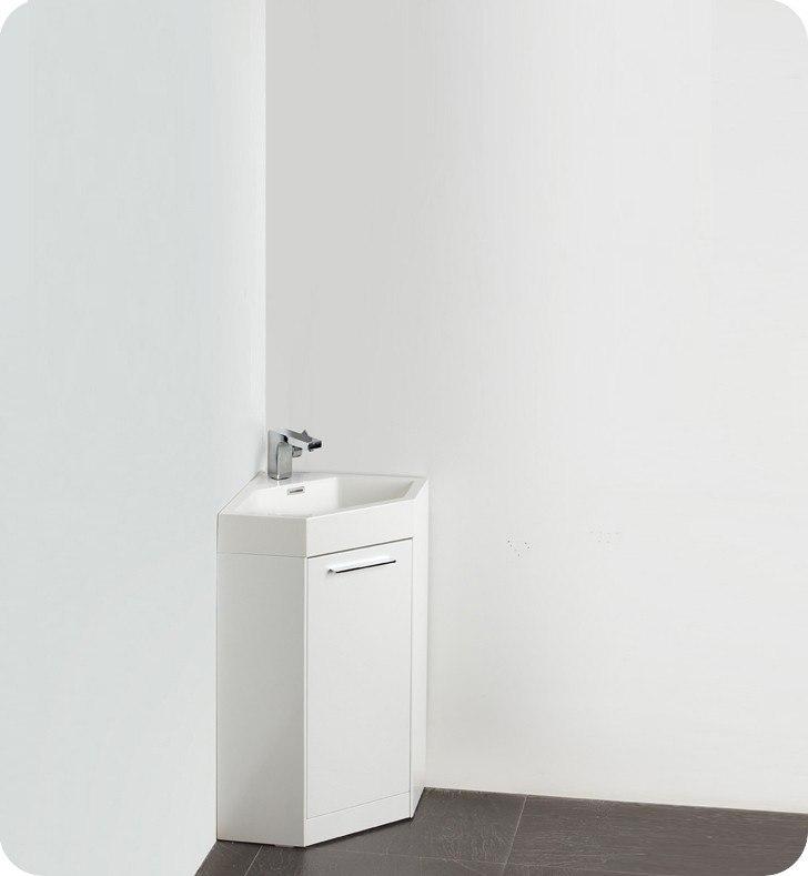 Fresca Fvn5084wh Coda 17 5 Inch White Modern Corner Bathroom Vanity