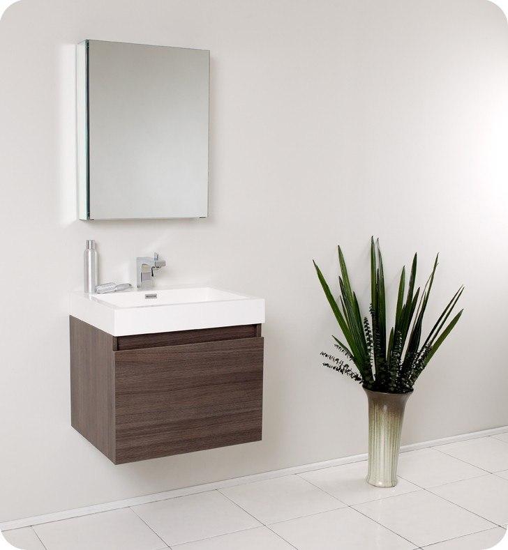 Fresca Fvn8006go Nano Inch Gray Oak Modern Bathroom Vanity W Medicine Cabinet Fresca