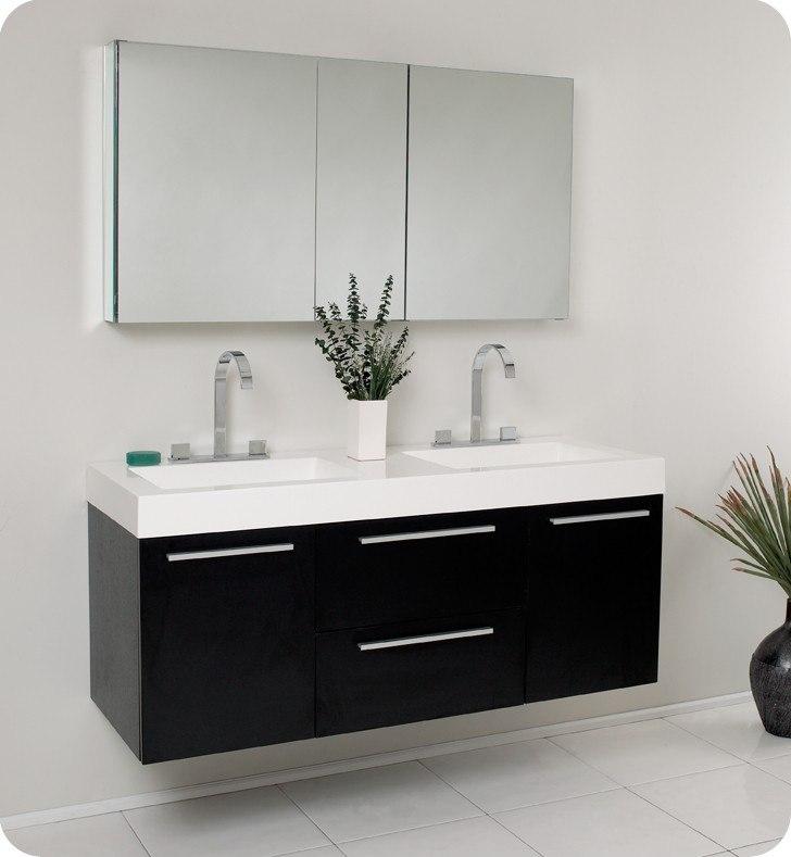 54 bathroom vanity double sink. Fresca FVN8013BW Opulento 54 Inch Black Modern Double Sink Bathroom Vanity  w Medicine Cabinet