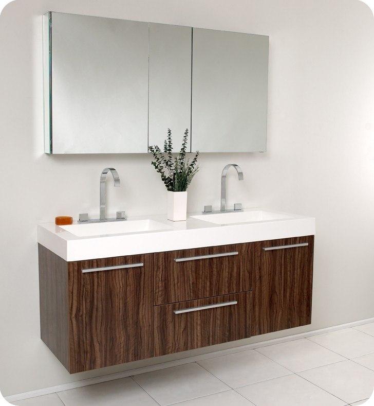 FRESCA FVN8013GW OPULENTO 54 INCH MODERN DOUBLE SINK BATHROOM VANITY WITH  MEDICINE CABINET IN WALNUT