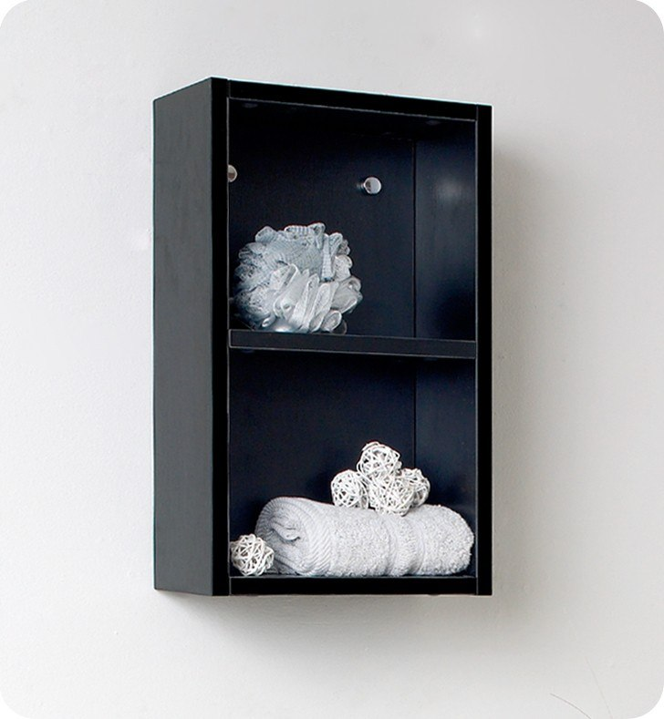 fresca fst8092bw black bathroom linen side cabinet w 2 open storage areas