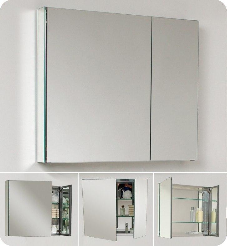 fresca fmc8090 medium 295 inch wide bathroom medicine cabinet w mirrors - Fresca Vanity