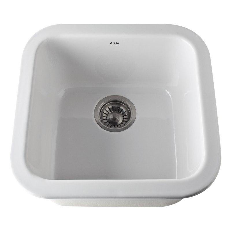 Rohl 5927 17-1/2 Inch Fireclay Single Bowl Bar/Food Prep Sink