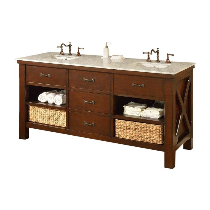 DIRECT VANITY SINK 70D1-ESWC XTRAORDINARY SPA 70 INCH DARK BROWN VANITY WITH CARRARA WHITE TOP