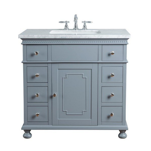 STUFURHOME HD-1013G-36-CR ABIGAIL EMBELLISHED 36 INCH GREY SINGLE SINK BATHROOM VANITY